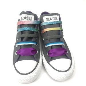 NWOT Converse All Star Low Top Gray Fun Laces